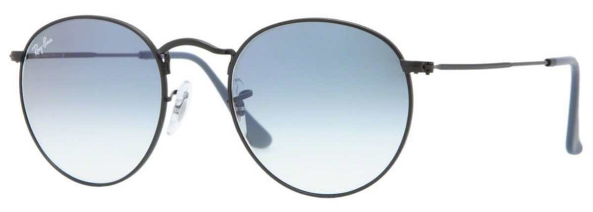 cd49938569 Matte Black with Crystal Gradient Light Blue Lenses · Ray Ban RB3447 Round  Metal ...