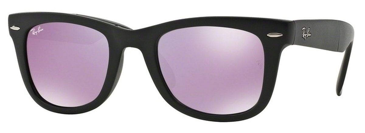 76e8a82ce1b78 Matte Black with Crystal Grey Mirror Lilac Lenses. Ray Ban RB4105 Folding  Wayfarer ...