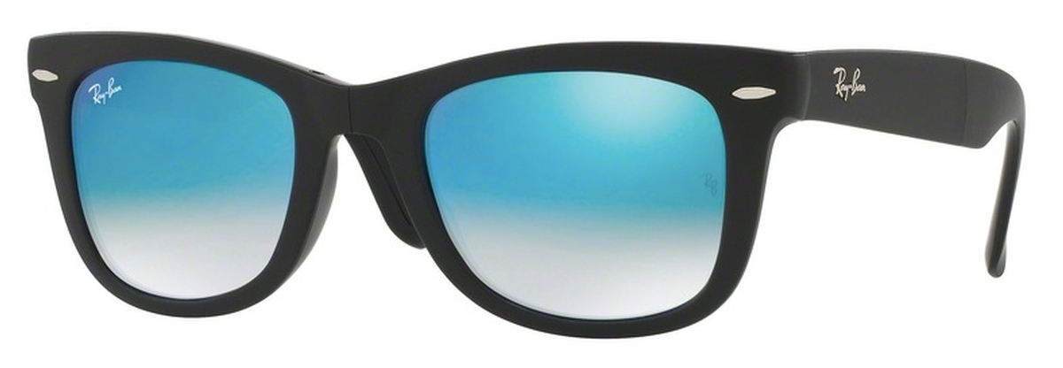 b05660d213 Matte Black with Crystal Mirror Gradient Blue Lenses · Ray Ban RB4105  Folding Wayfarer Matte ...