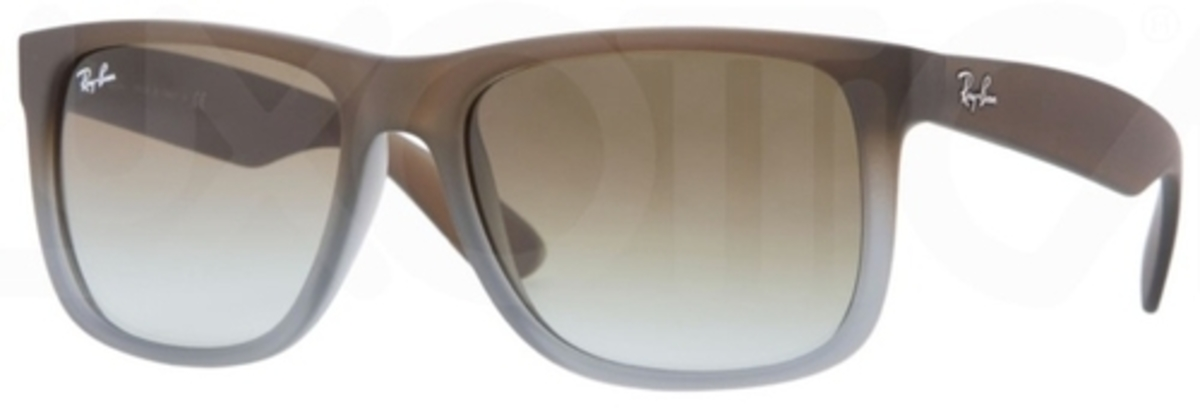 9566bd6849 Ray Ban RB4165 Justin Rubber Brown Grey with Green Gradient Lenses. Rubber  Brown Grey with Green Gradient Lenses