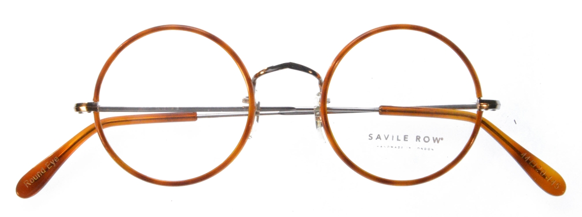 Savile Row Round 18Kt, Skull Temples Eyeglasses