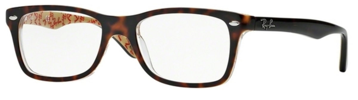 ray ban optical glass frames  ray ban glasses rx5228 top dark havana on beige text. top dark havana on beige text