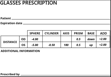Glasses Prescription Form
