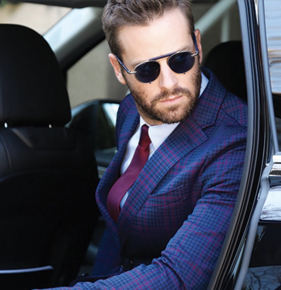 Actor Armie Hammer enjoys the Salvatore Ferragamo 197S sunglasses