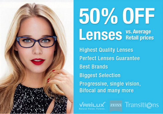 save 50 off lenses vs avarage retail price